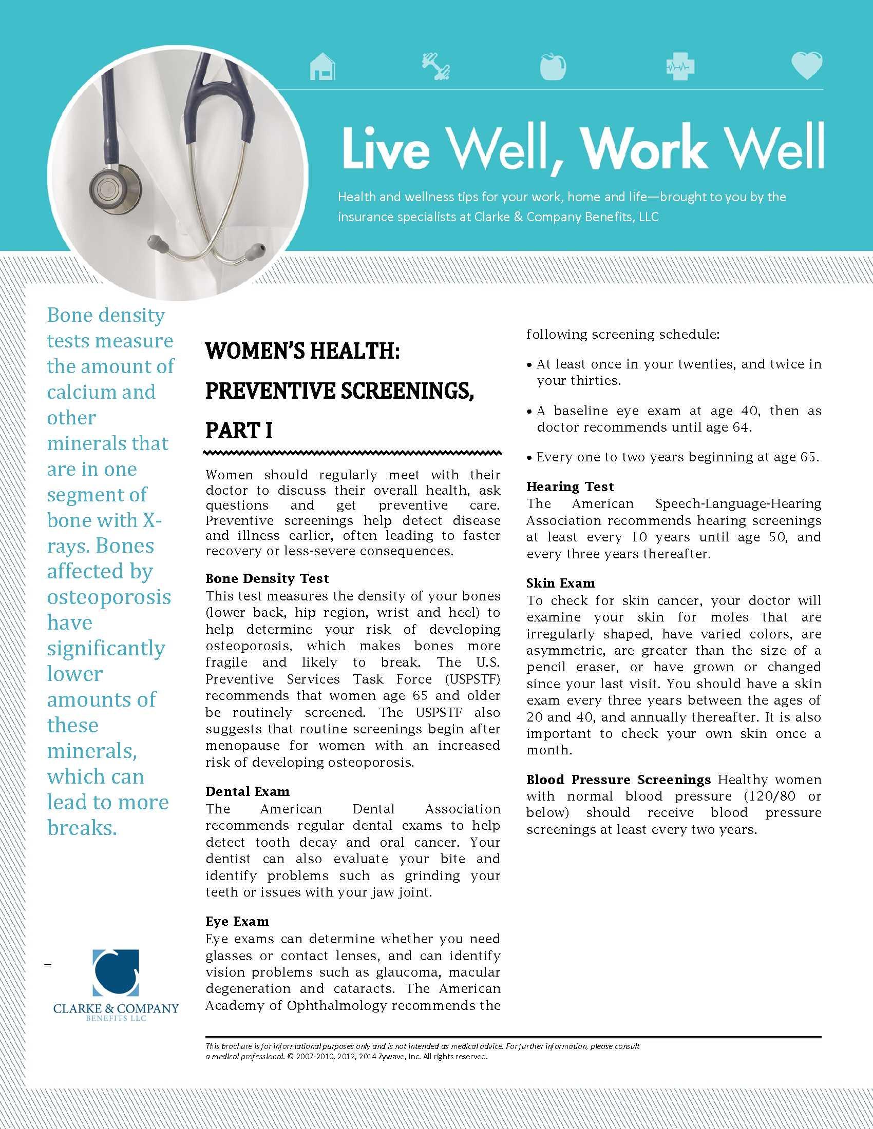 Women's Health - Preventive Screenings - Part I