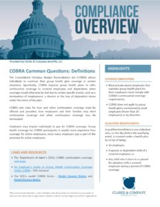 COBRA Common Questions Definitions
