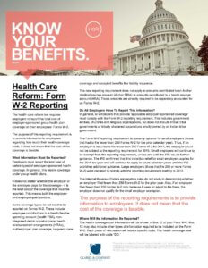 Health Care Reform - W-2 Reporting